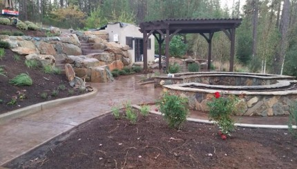 landscaping contractor in Modesto, California that built a fireplace and stairs